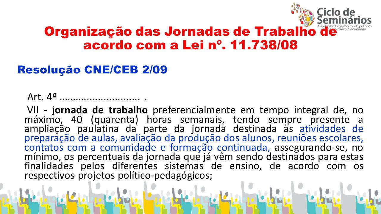 Organização das Jornadas de Trabalho de acordo com a Lei nº. 11.738/08