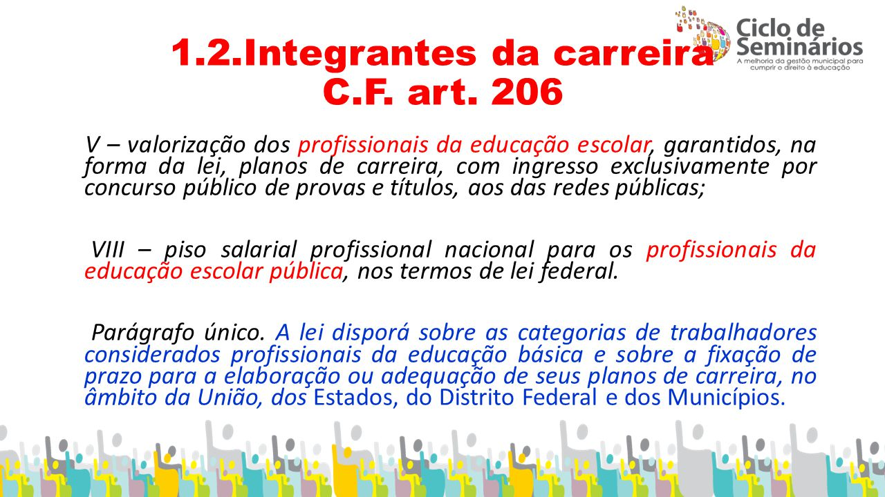 1.2.Integrantes da carreira C.F. art. 206
