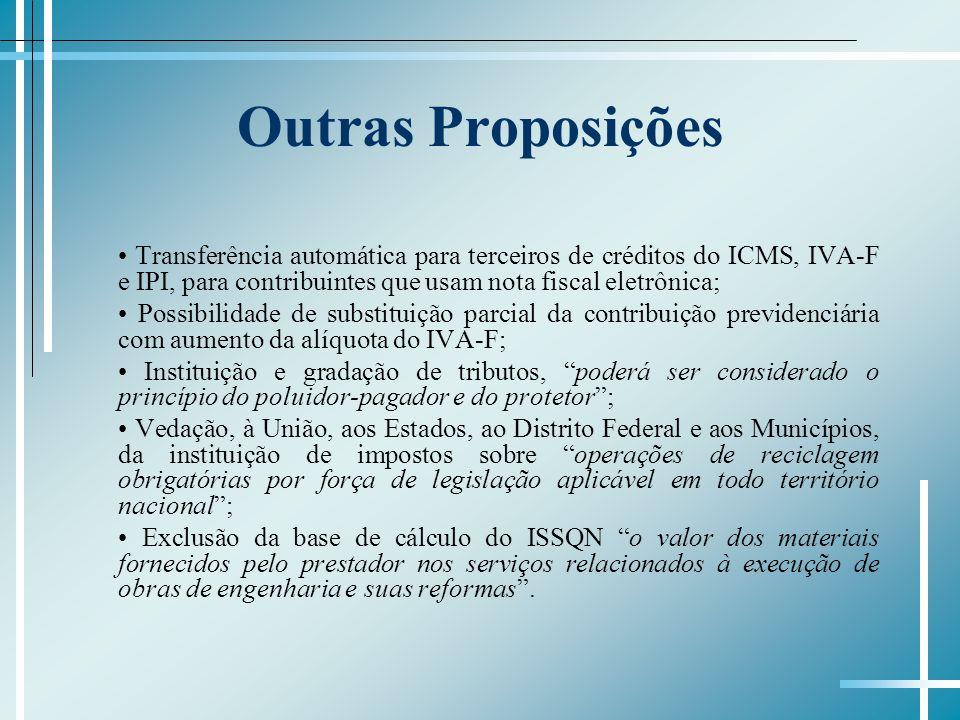 Outras Proposições • Transferência automática para terceiros de créditos do ICMS, IVA-F e IPI, para contribuintes que usam nota fiscal eletrônica;