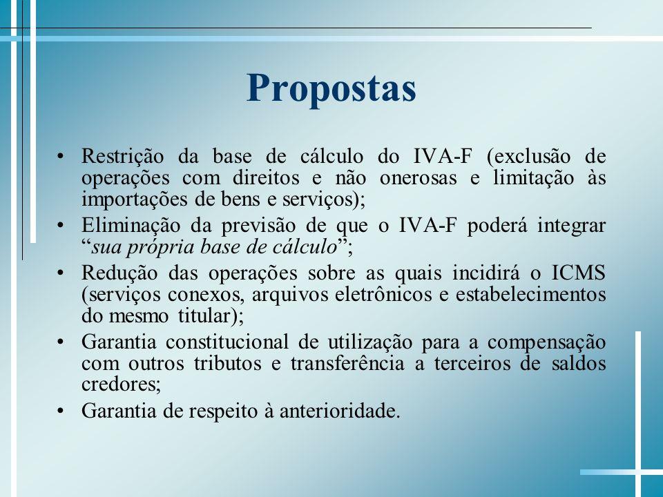 Propostas Restrição da base de cálculo do IVA-F (exclusão de operações com direitos e não onerosas e limitação às importações de bens e serviços);
