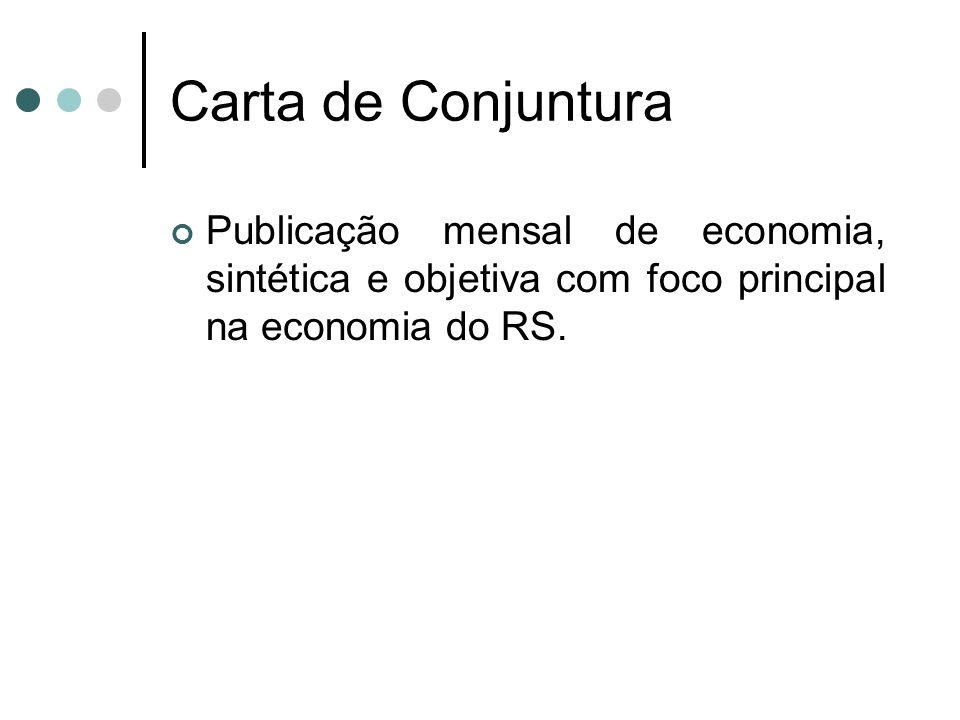 Carta de ConjunturaPublicação mensal de economia, sintética e objetiva com foco principal na economia do RS.