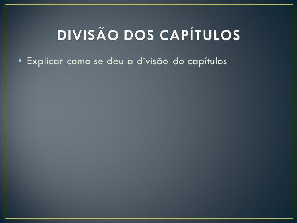 DIVISÃO DOS CAPÍTULOS Explicar como se deu a divisão do capítulos