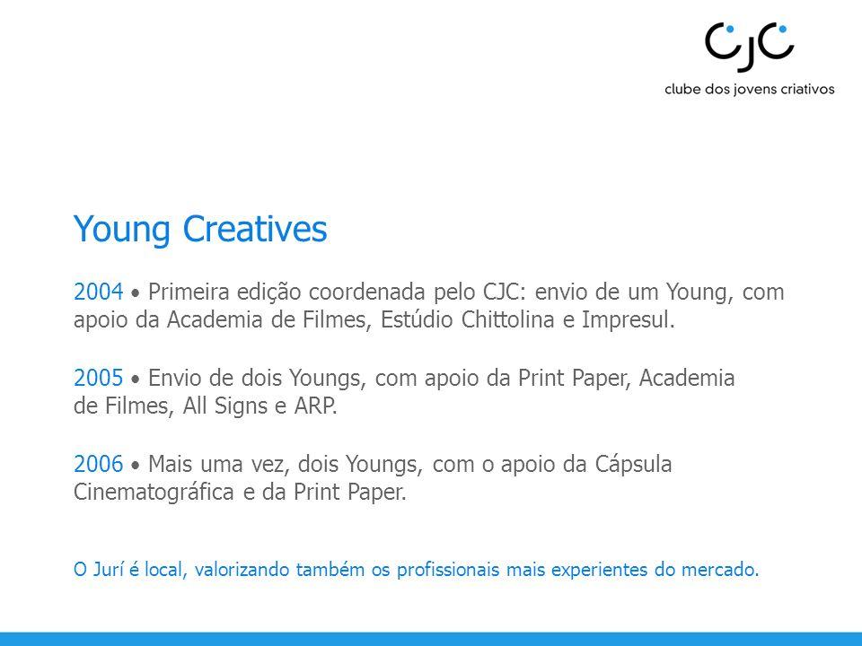 Young Creatives 2004 • Primeira edição coordenada pelo CJC: envio de um Young, com apoio da Academia de Filmes, Estúdio Chittolina e Impresul.