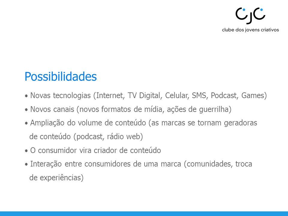 Possibilidades • Novas tecnologias (Internet, TV Digital, Celular, SMS, Podcast, Games) • Novos canais (novos formatos de mídia, ações de guerrilha)