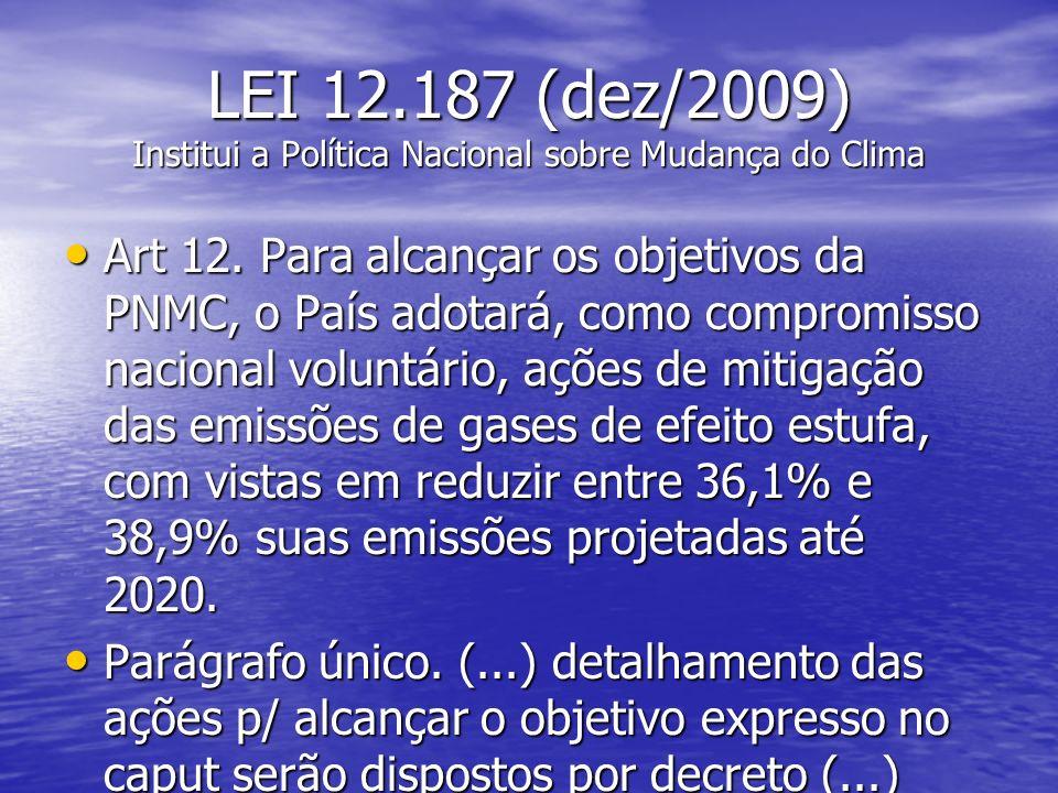 LEI 12.187 (dez/2009) Institui a Política Nacional sobre Mudança do Clima