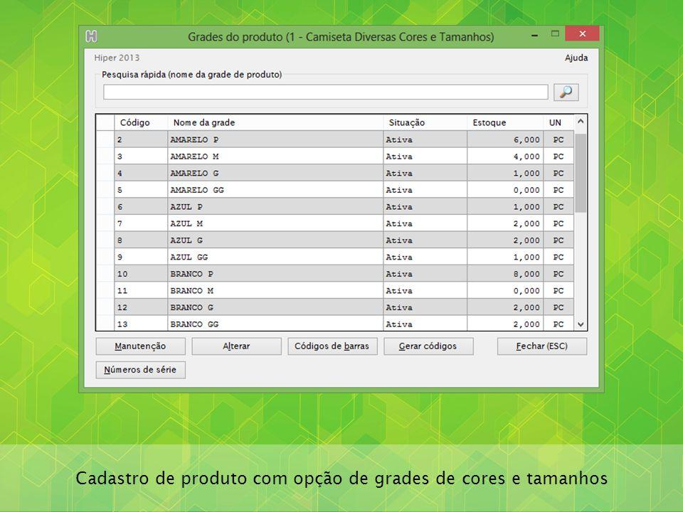 Cadastro de produto com opção de grades de cores e tamanhos