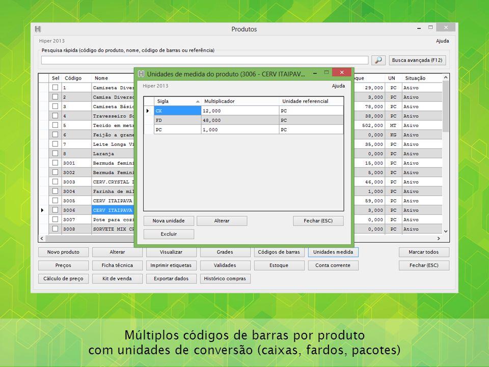 Múltiplos códigos de barras por produto