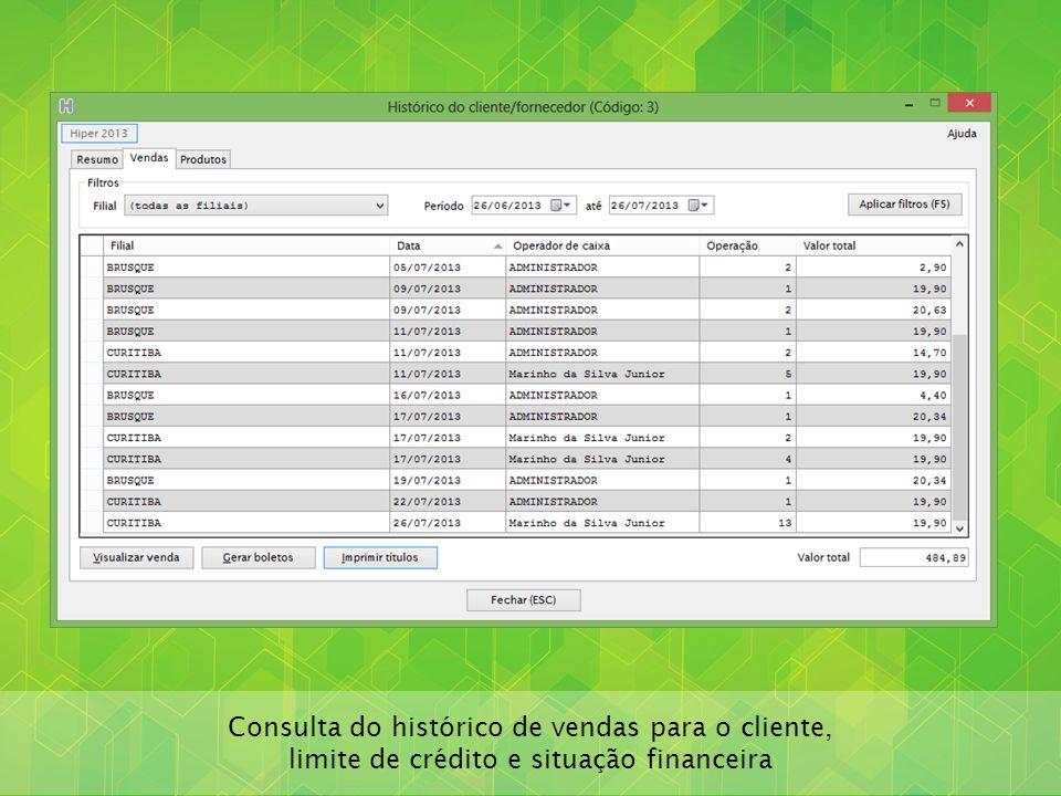 Consulta do histórico de vendas para o cliente,