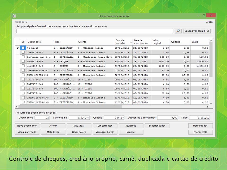 Controle de cheques, crediário próprio, carnê, duplicada e cartão de crédito