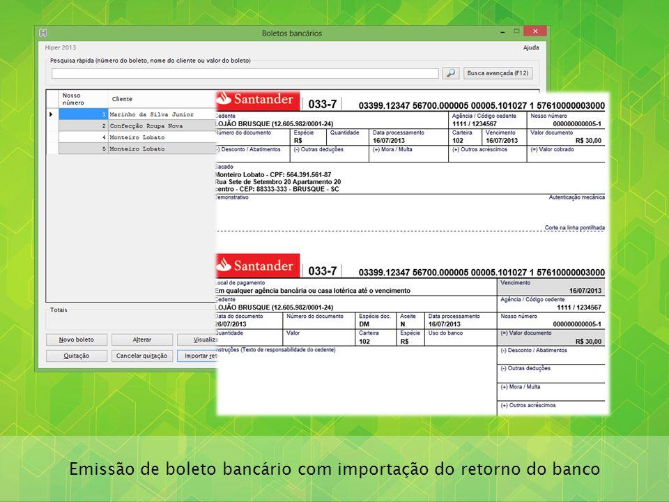 Emissão de boleto bancário com importação do retorno do banco