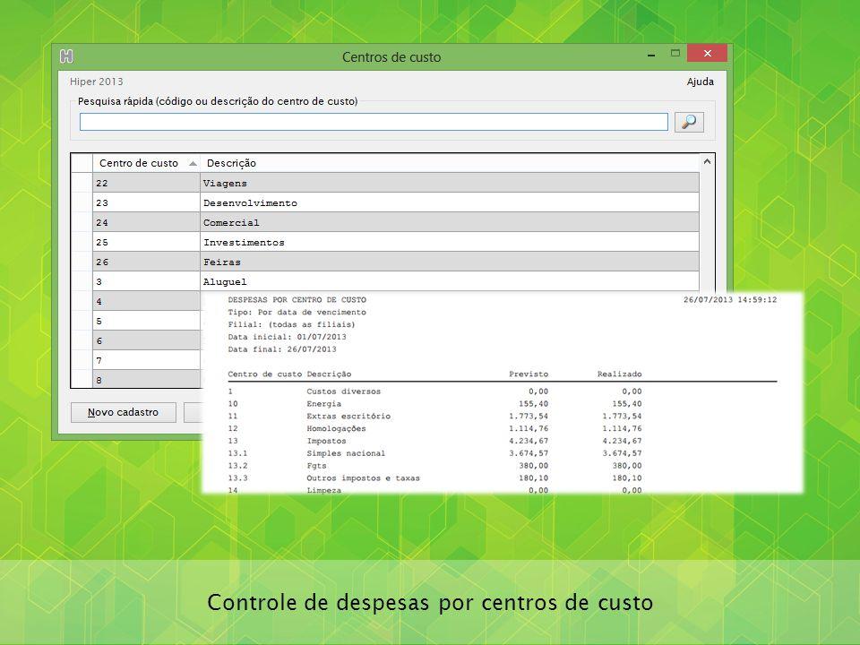 Controle de despesas por centros de custo