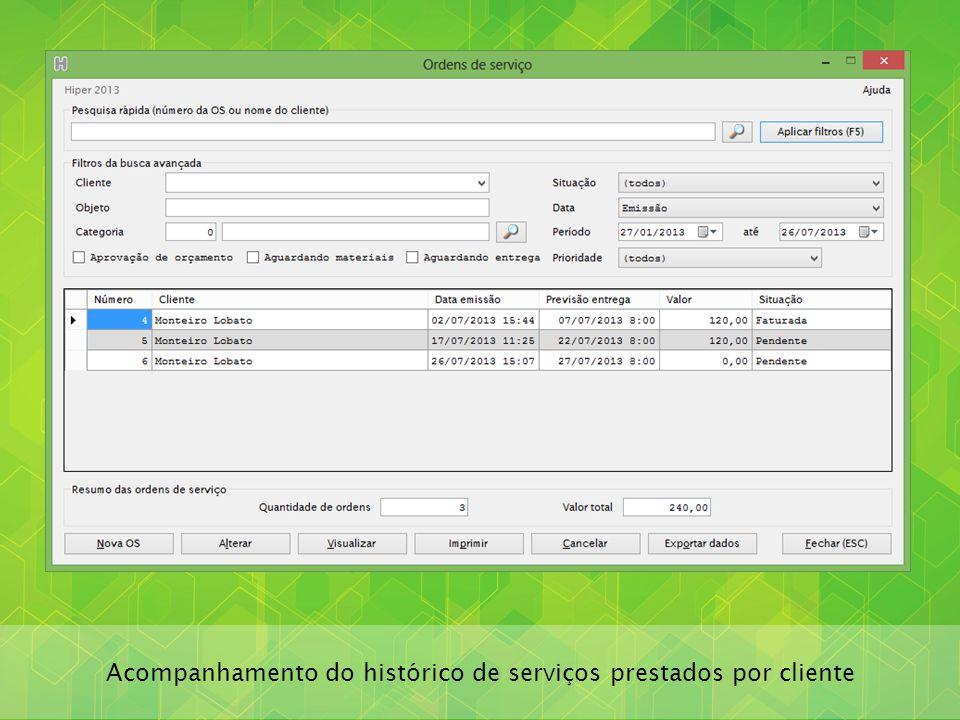 Acompanhamento do histórico de serviços prestados por cliente