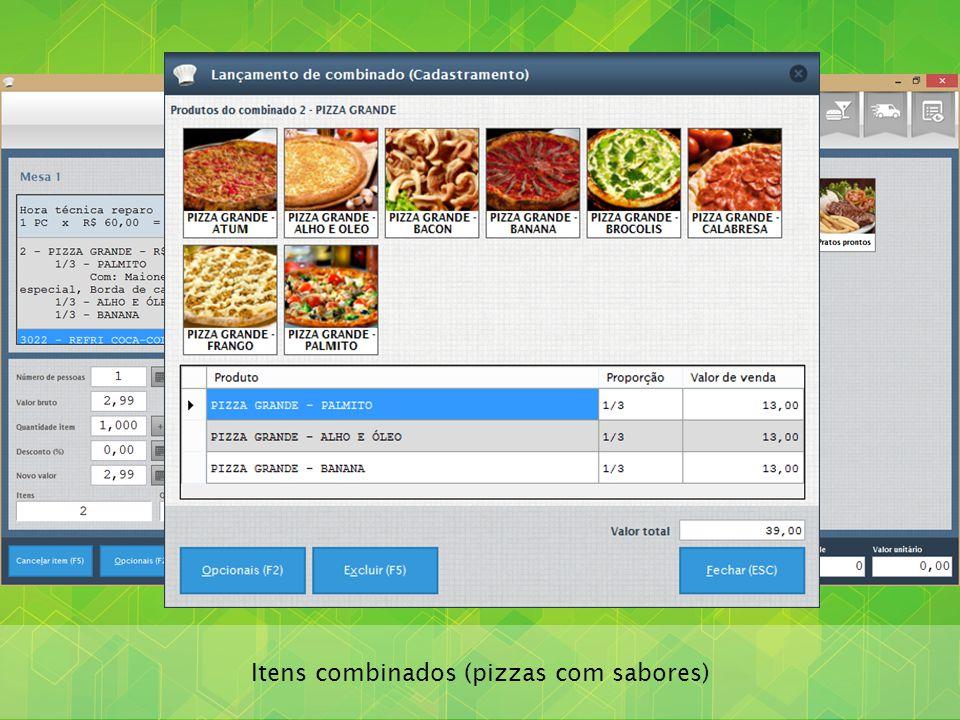 Itens combinados (pizzas com sabores)