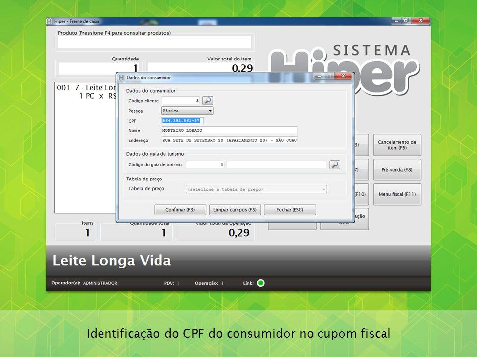 Identificação do CPF do consumidor no cupom fiscal