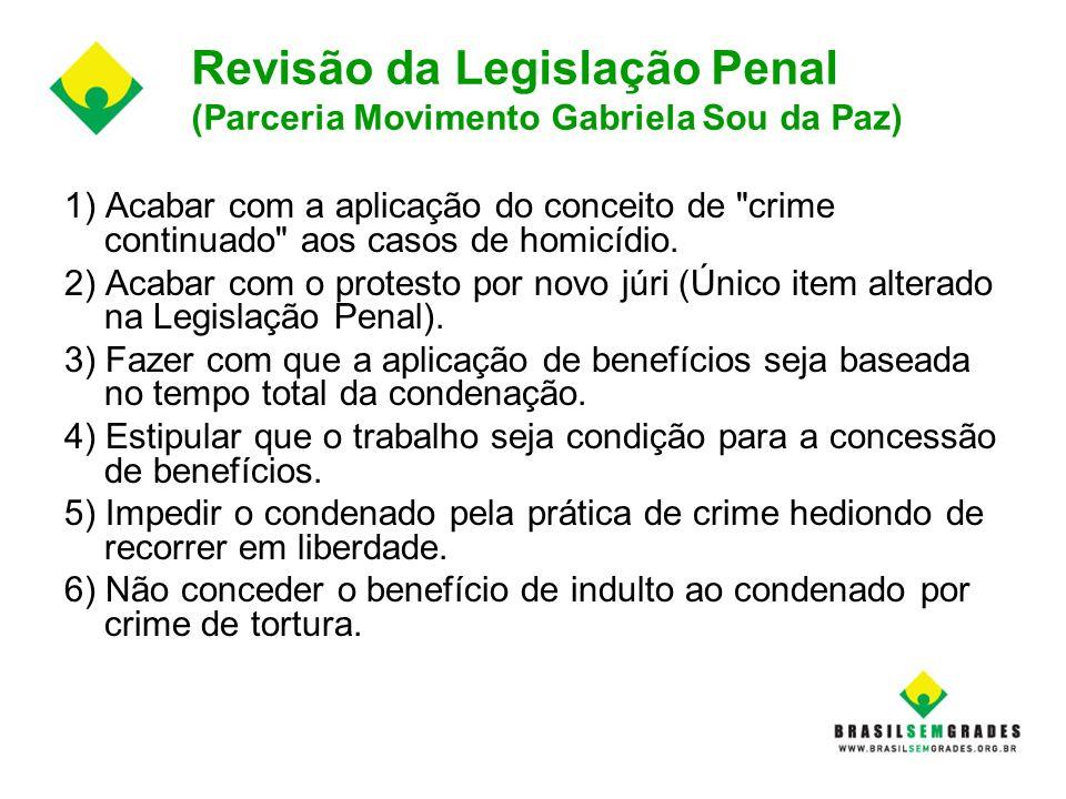 Revisão da Legislação Penal (Parceria Movimento Gabriela Sou da Paz)