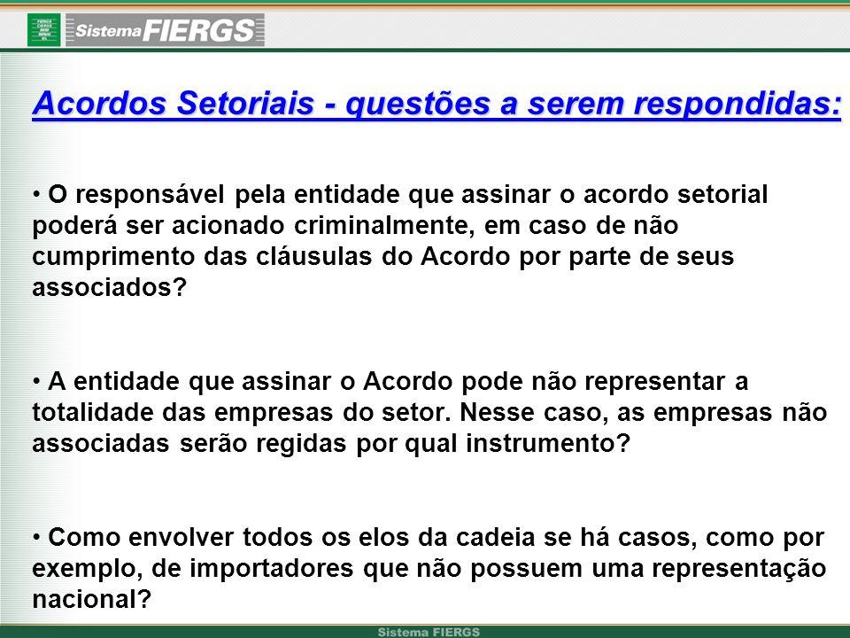Acordos Setoriais - questões a serem respondidas: