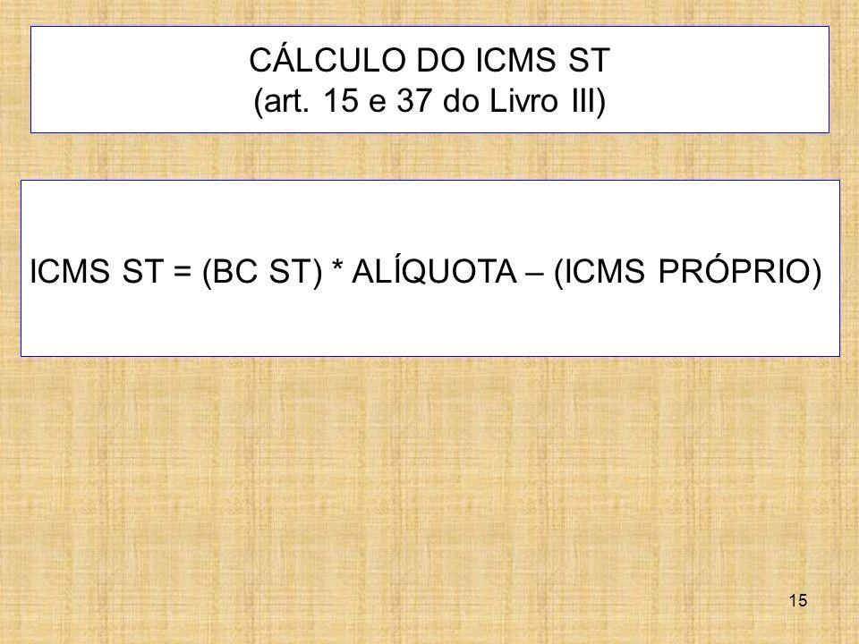CÁLCULO DO ICMS ST (art. 15 e 37 do Livro III)