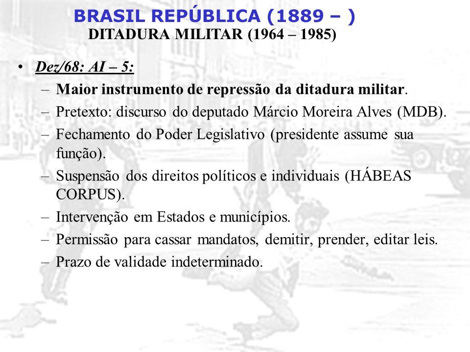 Dez/68: AI – 5: Maior instrumento de repressão da ditadura militar. Pretexto: discurso do deputado Márcio Moreira Alves (MDB).