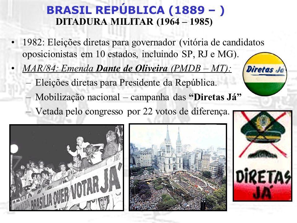 1982: Eleições diretas para governador (vitória de candidatos oposicionistas em 10 estados, incluindo SP, RJ e MG).