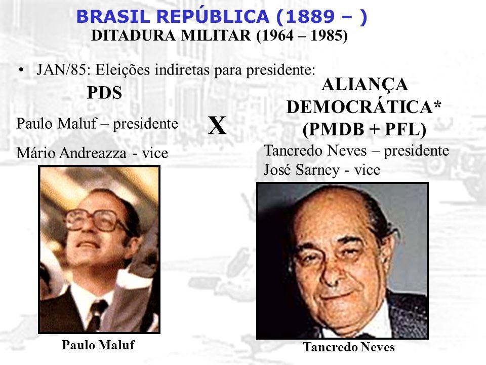 X PDS ALIANÇA DEMOCRÁTICA* (PMDB + PFL)