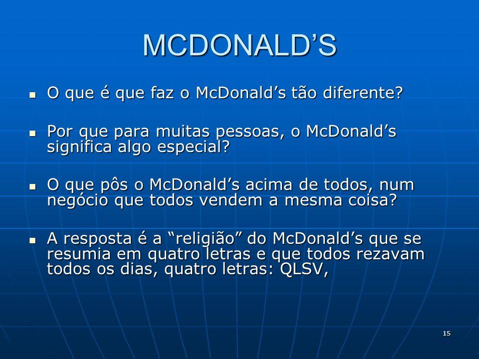 MCDONALD'S O que é que faz o McDonald's tão diferente