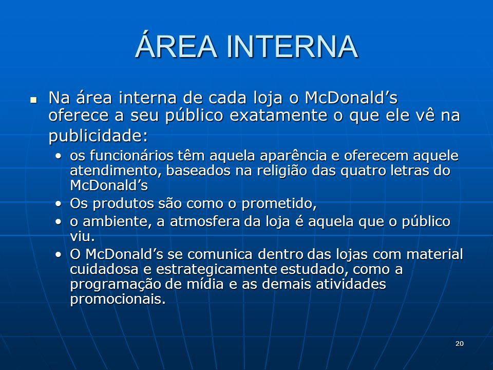 ÁREA INTERNA Na área interna de cada loja o McDonald's oferece a seu público exatamente o que ele vê na publicidade: