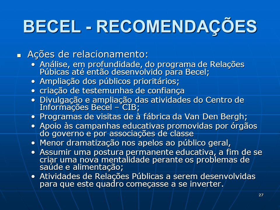 BECEL - RECOMENDAÇÕES Ações de relacionamento: