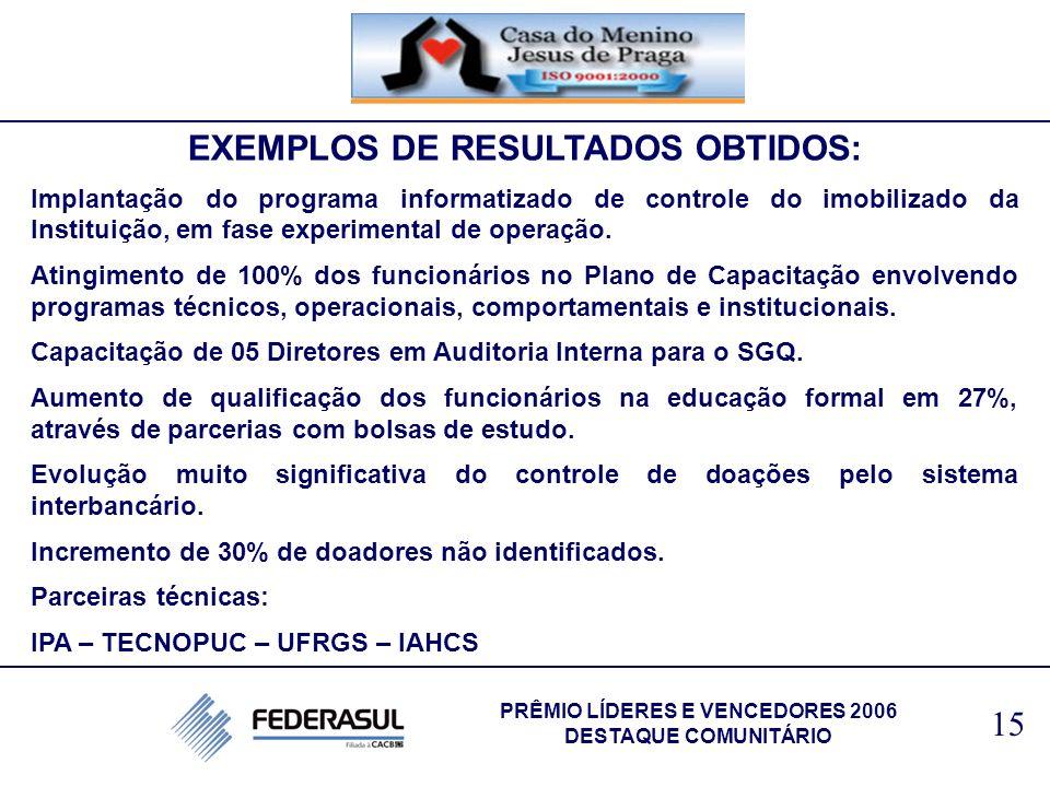 EXEMPLOS DE RESULTADOS OBTIDOS: PRÊMIO LÍDERES E VENCEDORES 2006