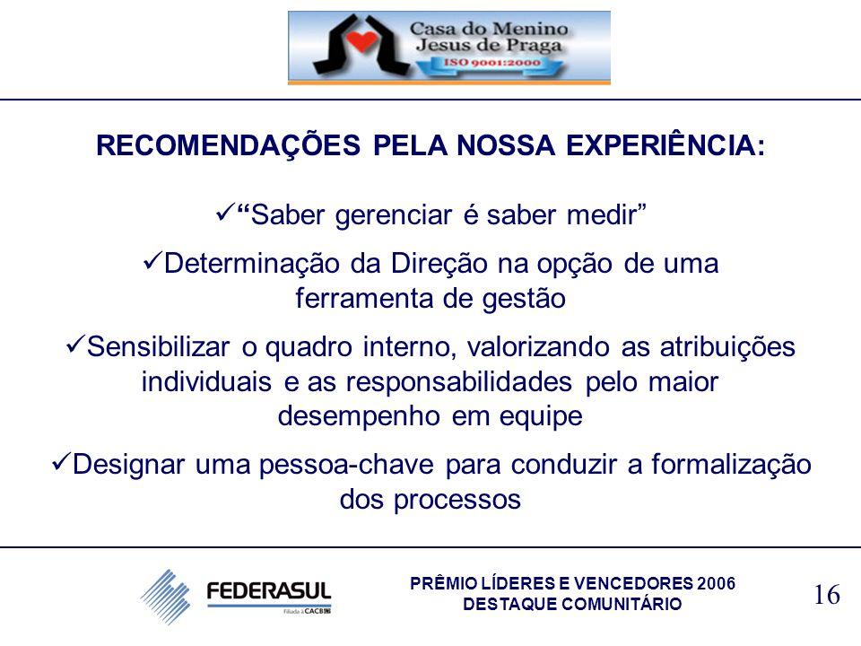 RECOMENDAÇÕES PELA NOSSA EXPERIÊNCIA: PRÊMIO LÍDERES E VENCEDORES 2006