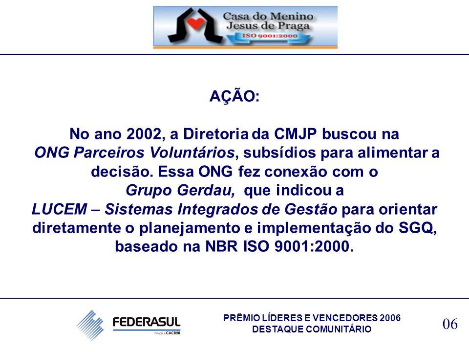 No ano 2002, a Diretoria da CMJP buscou na