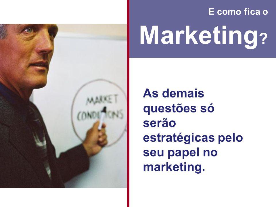 E como fica o Marketing As demais questões só serão estratégicas pelo seu papel no marketing.