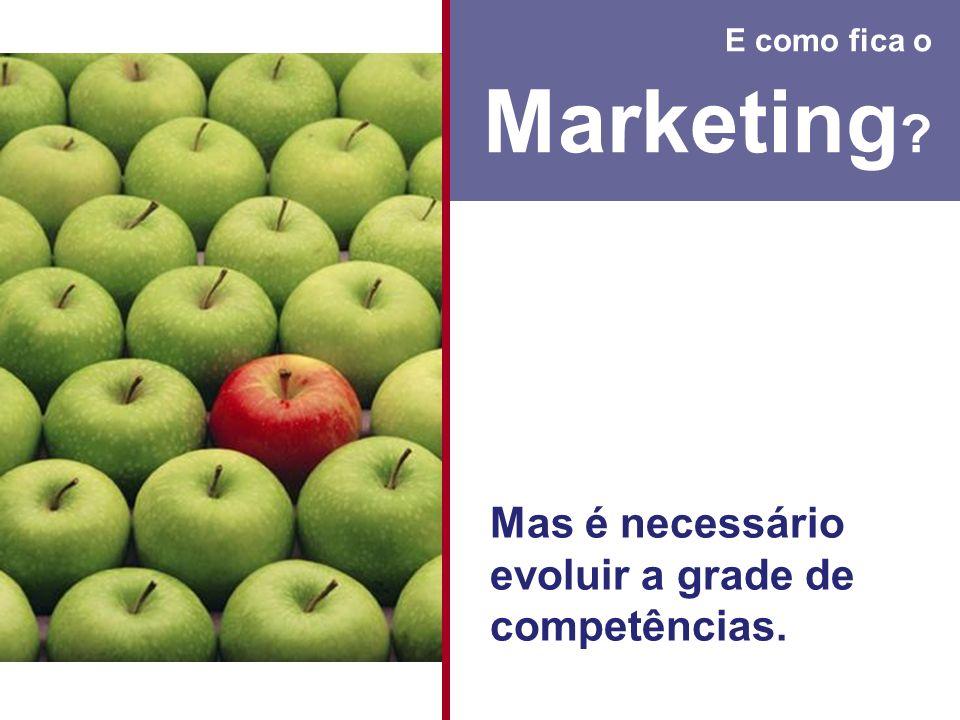 Marketing Mas é necessário evoluir a grade de competências.