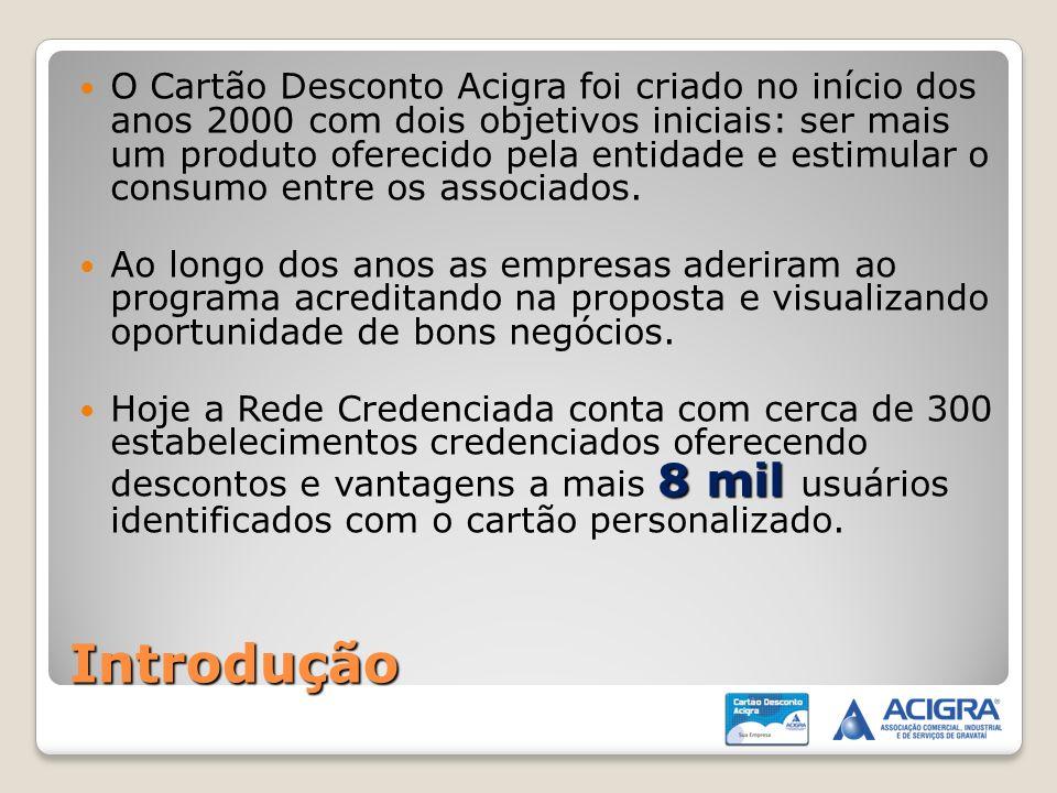O Cartão Desconto Acigra foi criado no início dos anos 2000 com dois objetivos iniciais: ser mais um produto oferecido pela entidade e estimular o consumo entre os associados.