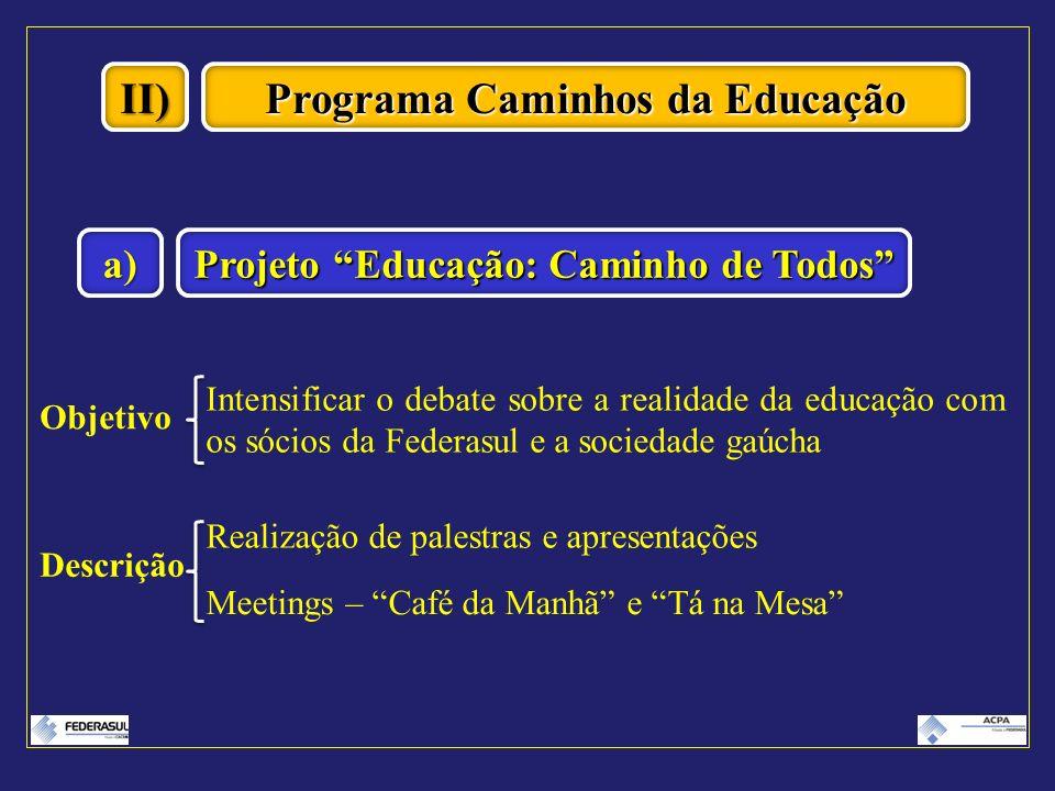 Programa Caminhos da Educação Projeto Educação: Caminho de Todos