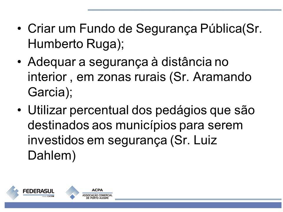 Criar um Fundo de Segurança Pública(Sr. Humberto Ruga);