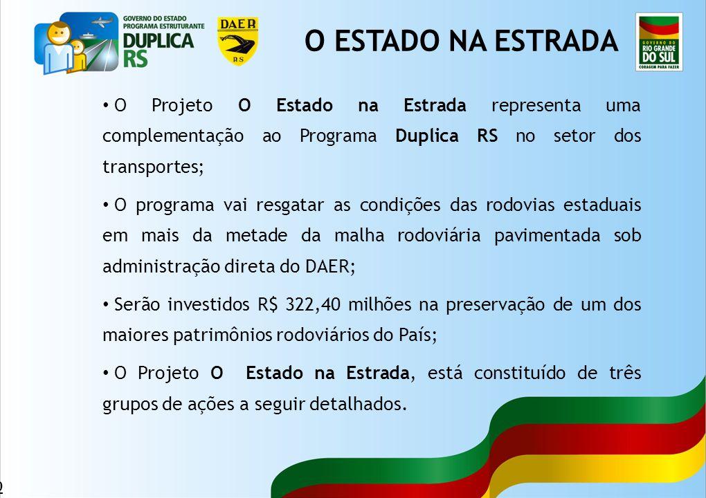 O ESTADO NA ESTRADA O Projeto O Estado na Estrada representa uma complementação ao Programa Duplica RS no setor dos transportes;