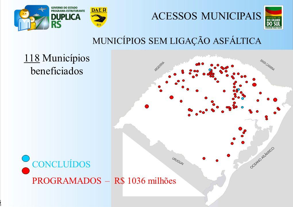 ACESSOS MUNICIPAIS 118 Municípios beneficiados