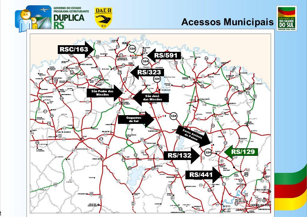 Acessos Municipais RSC/163 RS/591 RS/323 RS/129 RS/132 RS/441