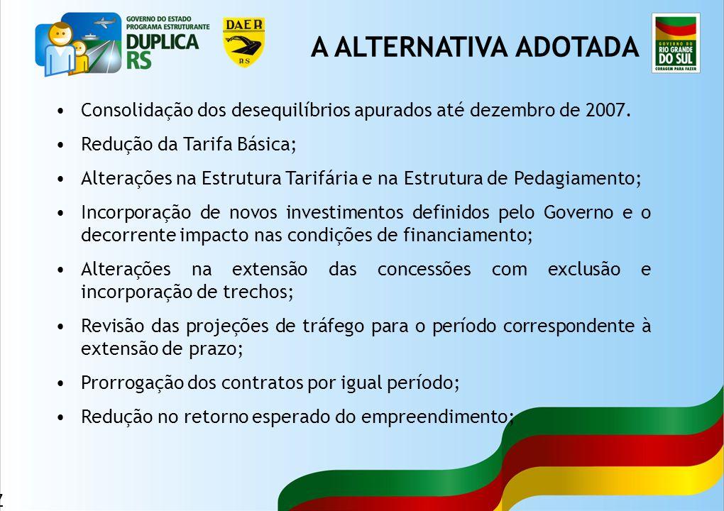 A ALTERNATIVA ADOTADA Consolidação dos desequilíbrios apurados até dezembro de 2007. Redução da Tarifa Básica;