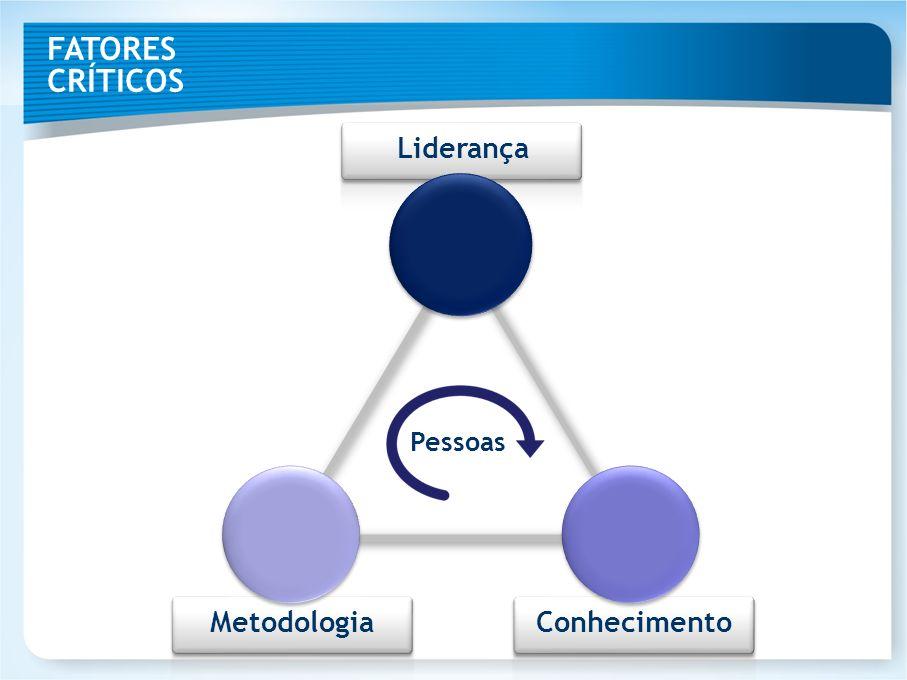 FATORES CRÍTICOS Liderança Pessoas Metodologia Conhecimento