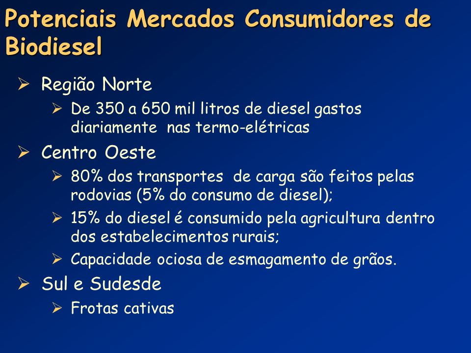 Potenciais Mercados Consumidores de Biodiesel