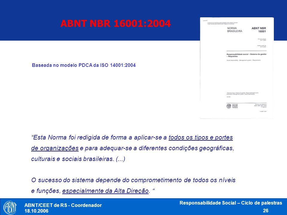 ABNT NBR 16001:2004 Baseada no modelo PDCA da ISO 14001:2004.