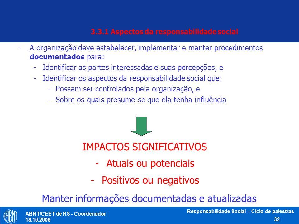 3.3.1 Aspectos da responsabilidade social