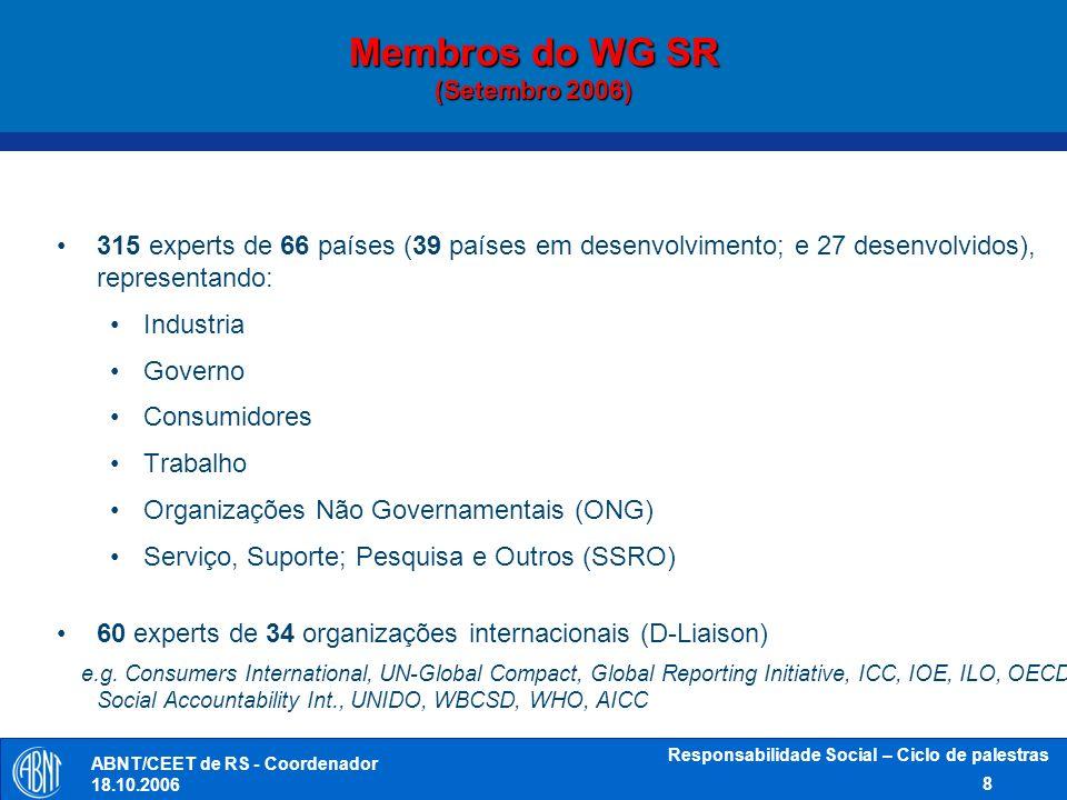 Membros do WG SR (Setembro 2006)