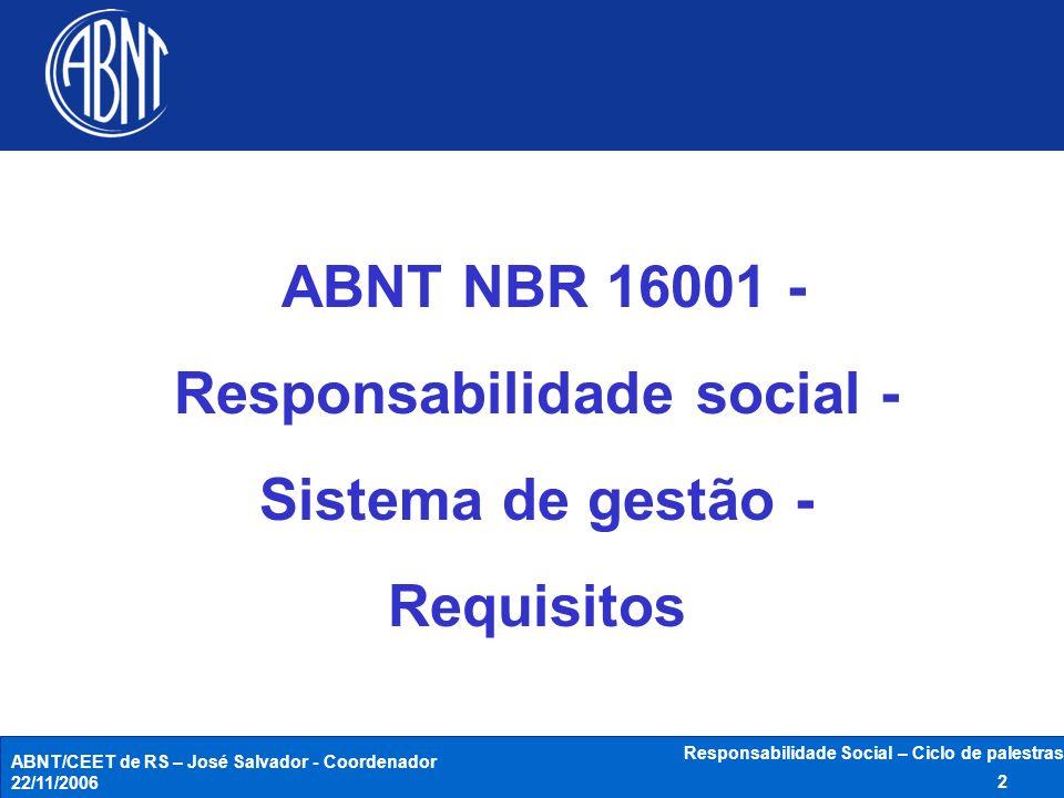 Responsabilidade social - Sistema de gestão - Requisitos