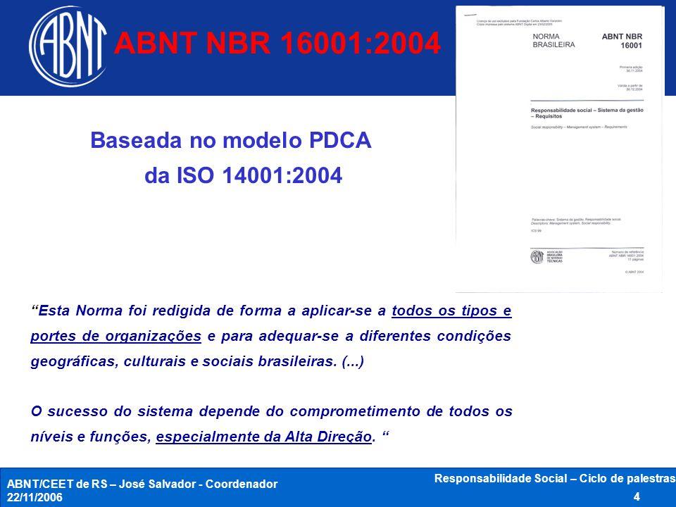 ABNT NBR 16001:2004 Baseada no modelo PDCA da ISO 14001:2004