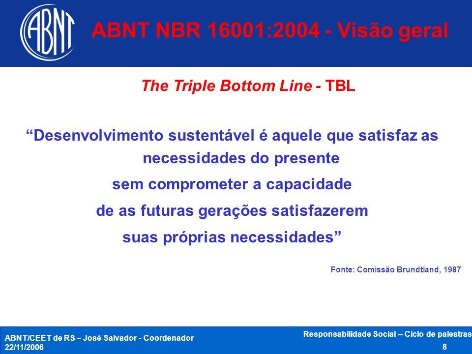 ABNT NBR 16001:2004 - Visão geral The Triple Bottom Line - TBL