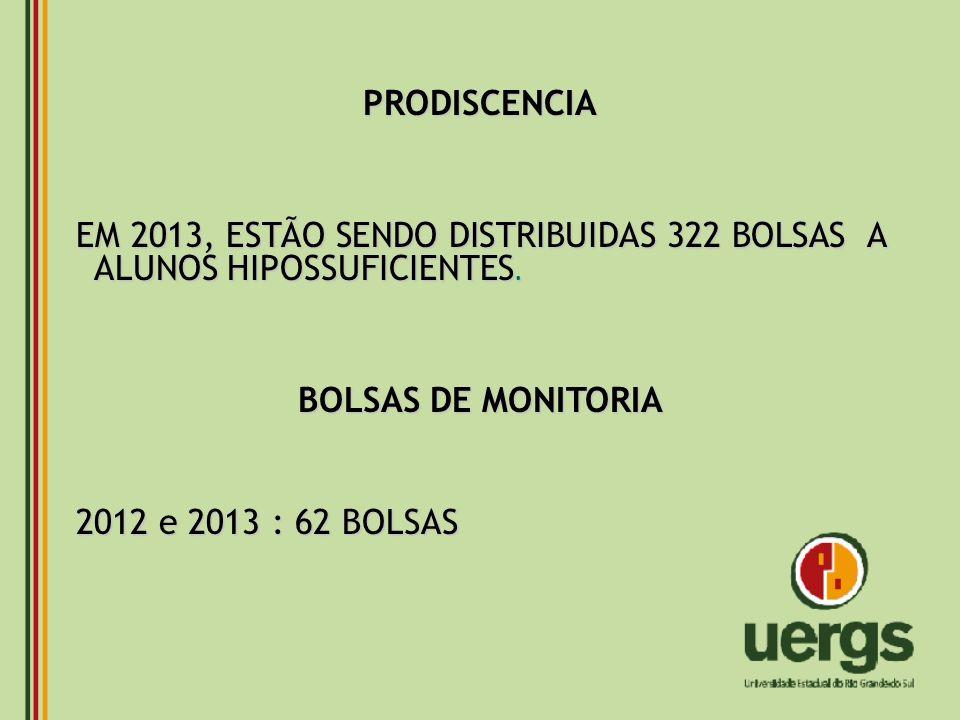 PRODISCENCIA EM 2013, ESTÃO SENDO DISTRIBUIDAS 322 BOLSAS A ALUNOS HIPOSSUFICIENTES. BOLSAS DE MONITORIA.