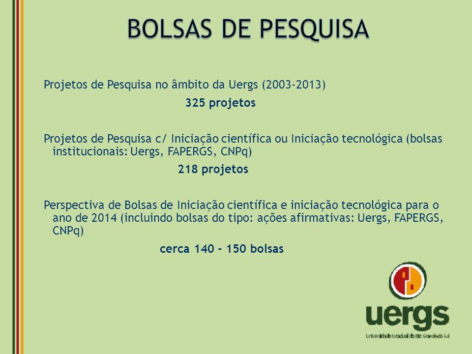 BOLSAS DE PESQUISA Projetos de Pesquisa no âmbito da Uergs (2003-2013)
