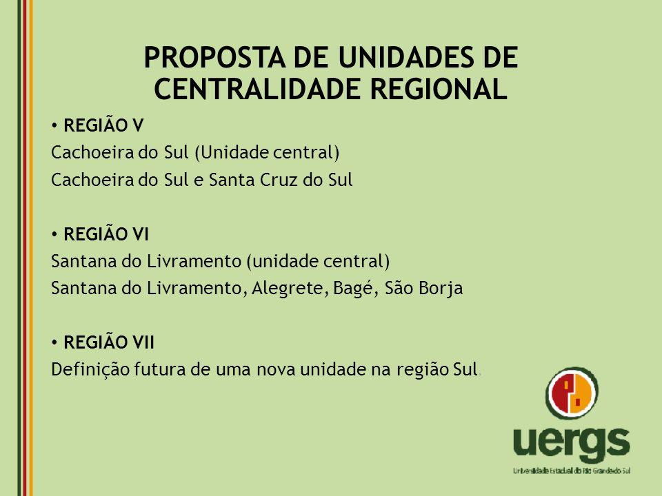 PROPOSTA DE UNIDADES DE CENTRALIDADE REGIONAL
